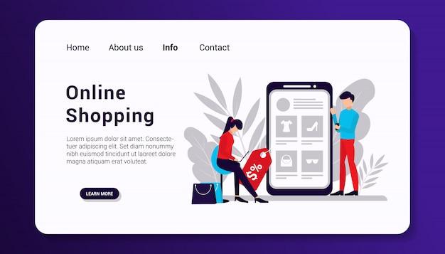 Modèle de page de destination de magasinage en ligne, design plat