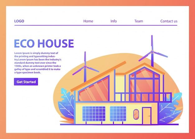 Modèle de page de destination des maisons écologiques