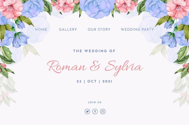 Modèle de page de destination de mariage aquarelle