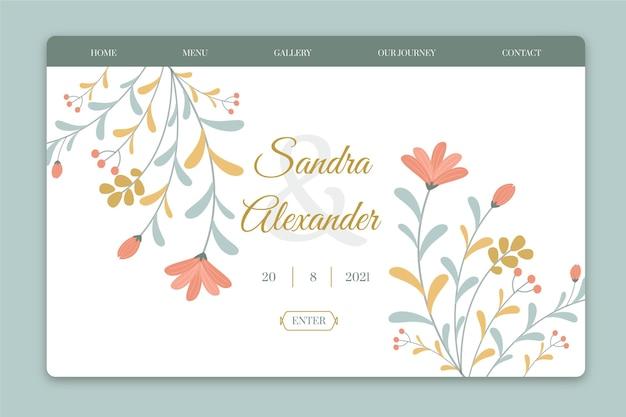 Modèle de page de destination de mariage créatif