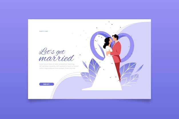Modèle de page de destination de mariage design plat