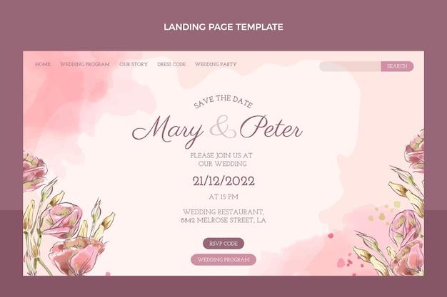 Modèle de page de destination de mariage dessiné à la main