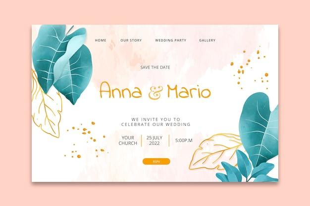 Modèle de page de destination de mariage floral
