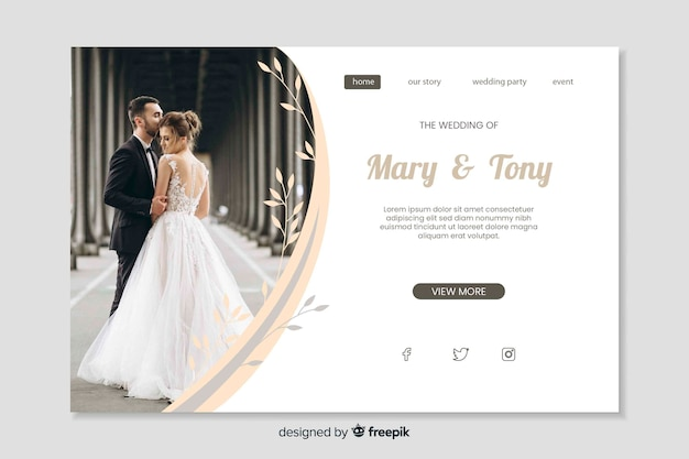 Modèle de page de destination de mariage avec image