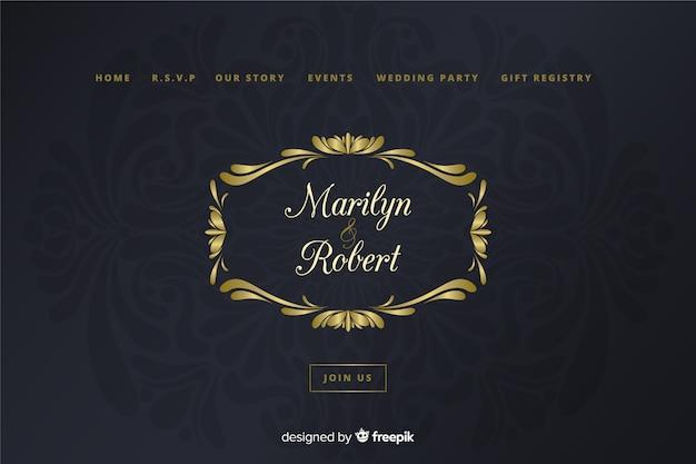 Modèle de page de destination de mariage métallique