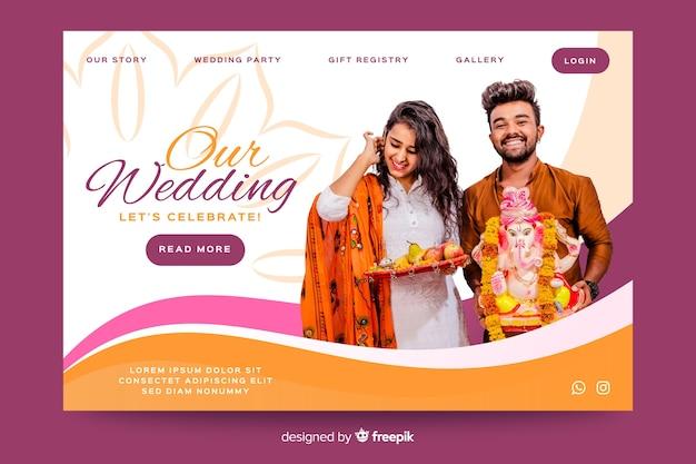 Modèle de page de destination de mariage avec photo