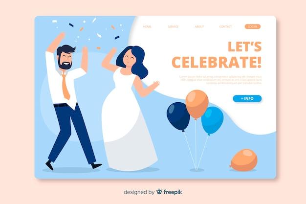 Modèle de page de destination de mariage plat
