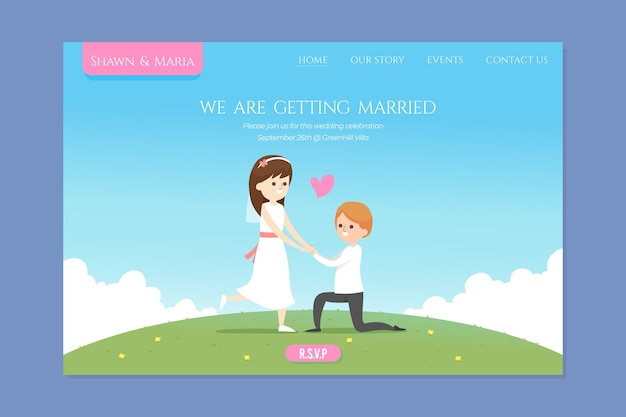 Modèle de page de destination de mariage