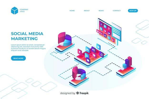 Modèle de page de destination marketing isométrique