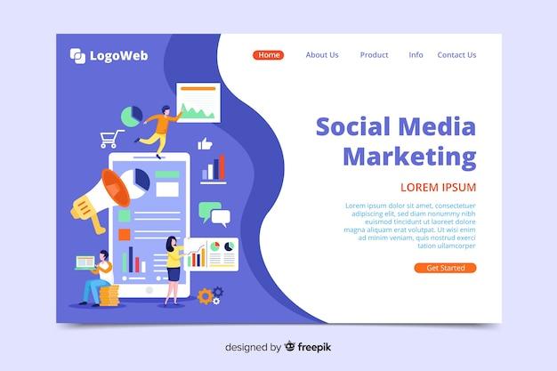 Modèle De Page De Destination Marketing Numérique Vecteur Premium