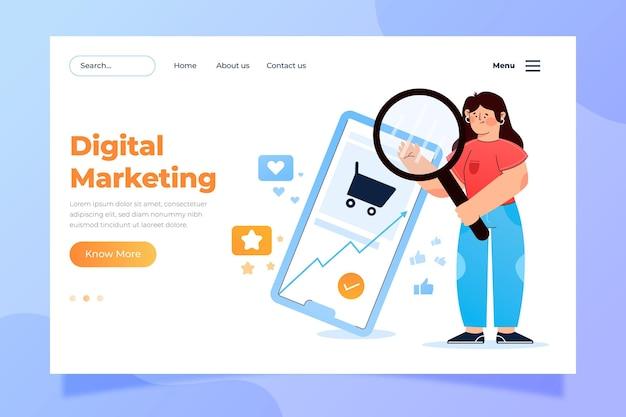 Modèle de page de destination de marketing numérique