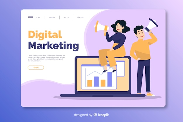 Modèle de page de destination marketing à plat