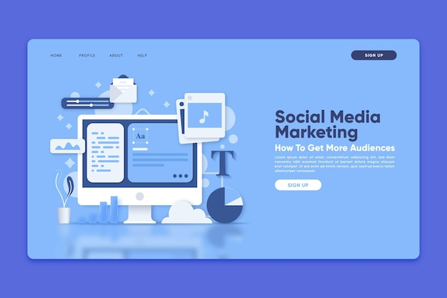 Modèle de page de destination avec marketing sur les réseaux sociaux