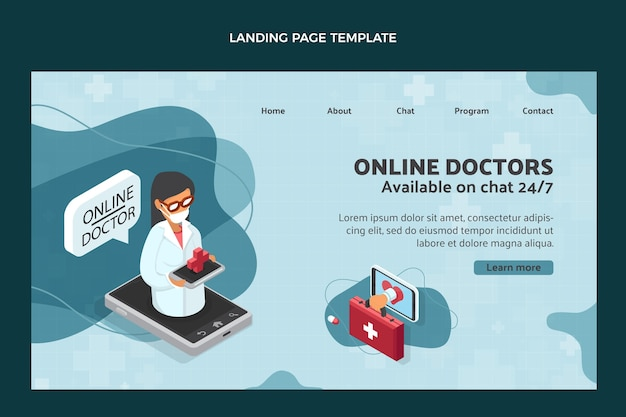 Modèle de page de destination médicale de style plat