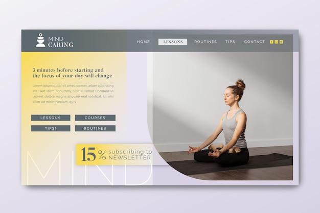 Modèle de page de destination de méditation et de pleine conscience