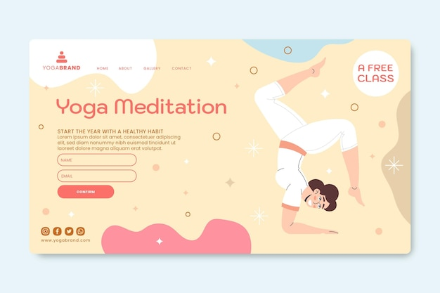 Modèle de page de destination de méditation de yoga