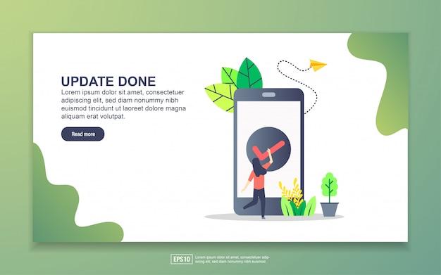 Modèle de page de destination de la mise à jour effectuée. concept de design plat moderne de conception de page web pour site web et site web mobile.