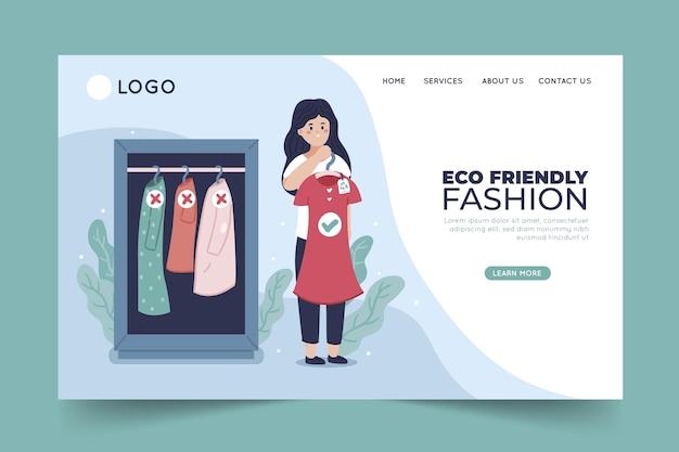Modèle de page de destination de mode durable design plat