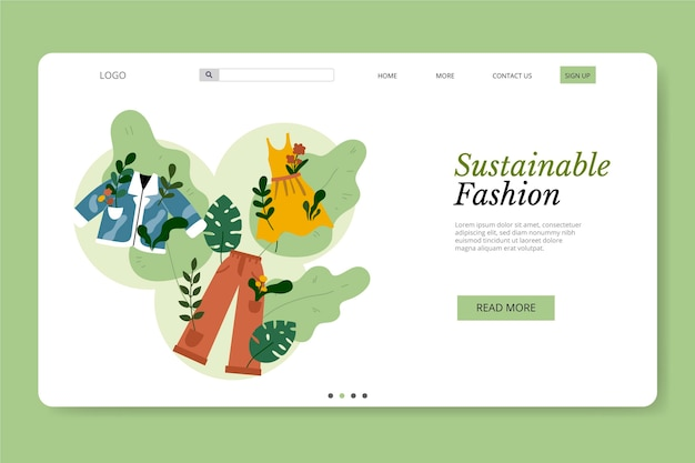 Modèle de page de destination de mode durable dessiné à la main