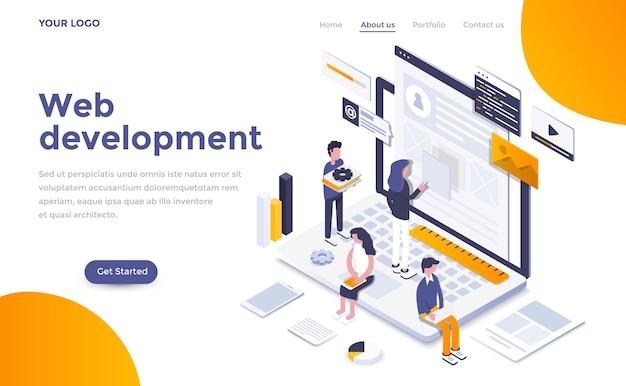 Modèle de page de destination moderne de développement web dans un style isométrique