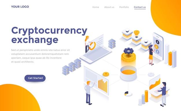 Modèle de page de destination moderne d'échange de crypto-monnaie dans un style isométrique