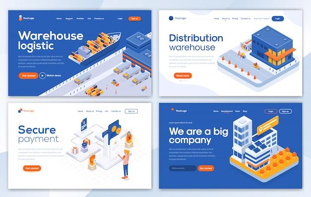 Modèle de page de destination moderne - ensemble d'entrepôt
