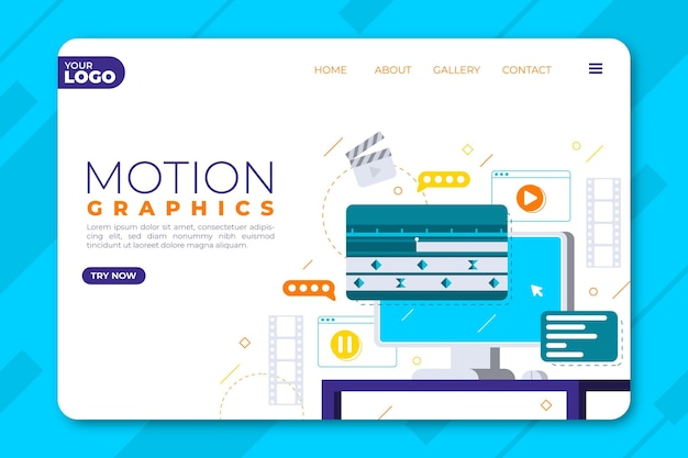 Modèle de page de destination de motiongraphics plat organique