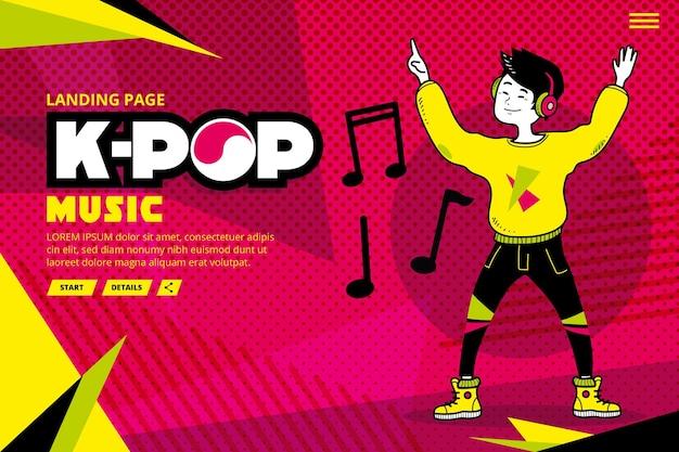Modèle de page de destination de musique k-pop