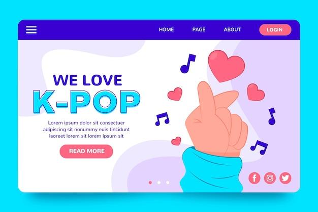 Modèle de page de destination de la musique k-pop