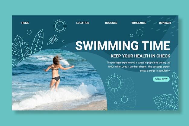 Modèle de page de destination de natation avec photo