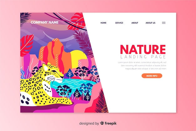Modèle de page de destination nature dessiné à la main