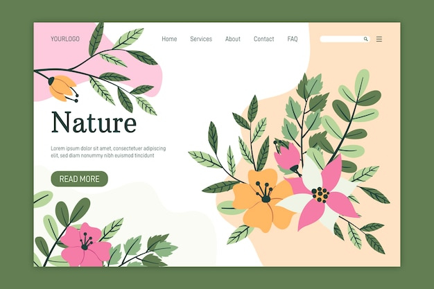 Modèle de page de destination nature dessiné à la main