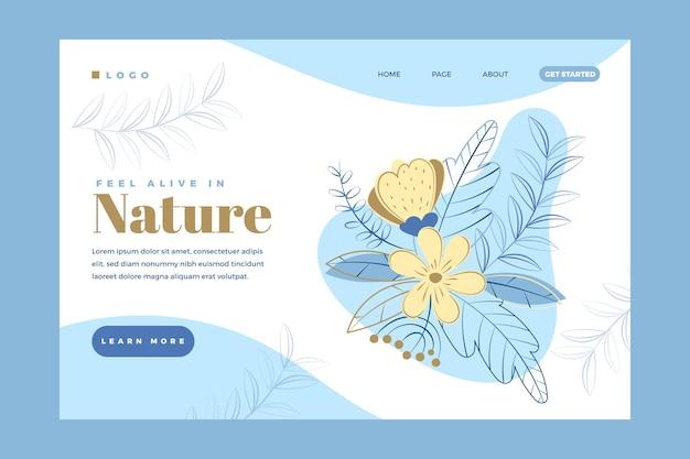 Modèle de page de destination nature dessinée à la main