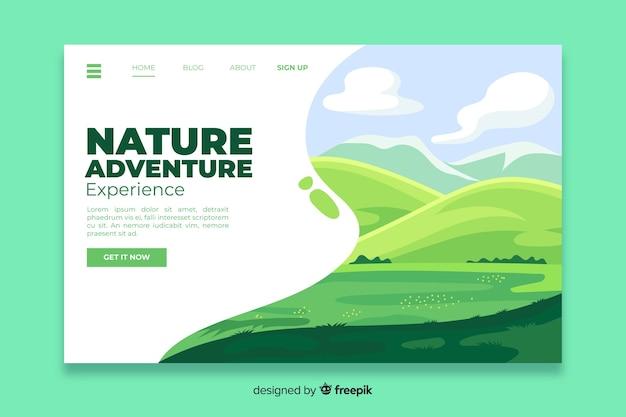 Modèle de page de destination nature plate