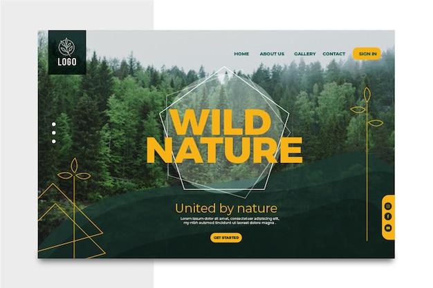 Modèle de page de destination de nature sauvage
