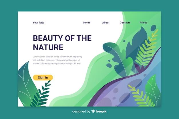 Modèle de page de destination nature verte