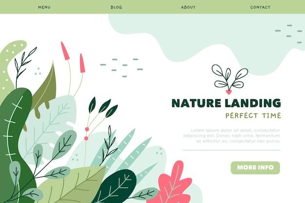 Modèle de page de destination naturel dessiné à la main