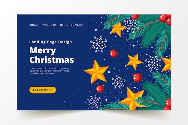 Modèle de page de destination de noël design plat