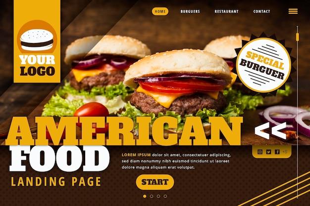 Modèle de page de destination de la nourriture américaine