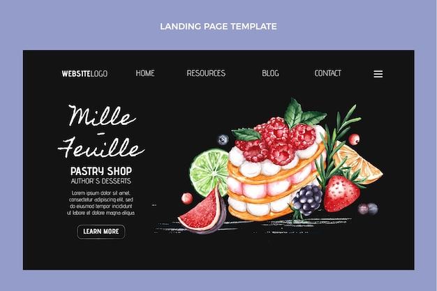 Modèle de page de destination de nourriture aquarelle