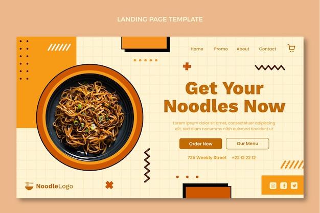 Modèle de page de destination de nourriture plate
