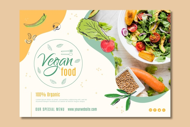 Modèle de page de destination de nourriture végétalienne