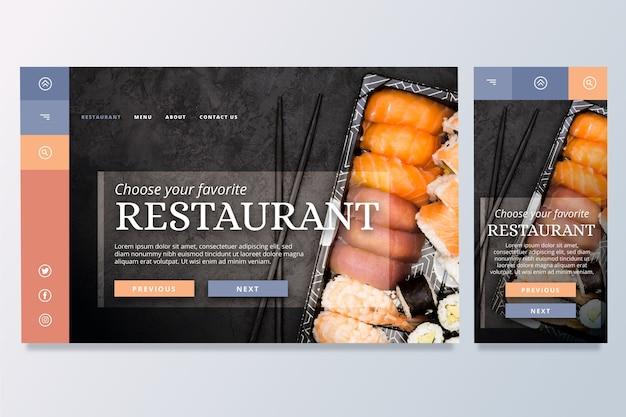 Modèle de page de destination de nourriture
