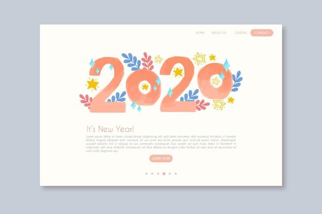 Modèle de page de destination nouvel an dessiné à la main