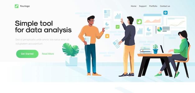 Modèle de page de destination de l'outil simple pour l'analyse des données