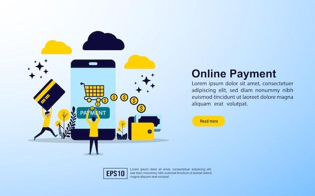 Modèle de page de destination. paiement en ligne
