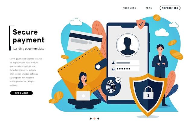 Modèle de page de destination de paiement sécurisé