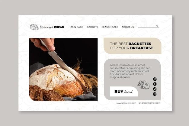Modèle de page de destination de pain avec photo
