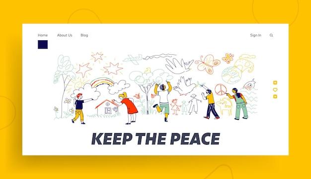 Modèle de page de destination de la paix ou de la journée internationale des enfants.