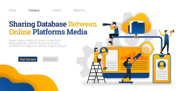 Modèle de page de destination. partage de la base de données entre plateformes de médias en ligne. accéder à des fichiers à partir de nombreuses plates-formes
